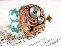 Steampunk ring  Vintage17 jeweled watch by InsomniaStudios on Etsy, $55.00