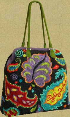 "Irish Beach Carpetbag Pattern ~ ""When completed, the Irish Beach Carpetbag stands about 16"" high (not including the handles) and is 15 1/2"" wide X 6"" deep. It's a roomy & substantial bag that's big enough for a knitting or hooking project or a quick overnighter!"""