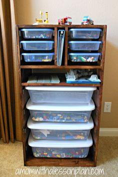 DIY Lego storage solution. http://hative.com/creative-lego-storage-ideas/