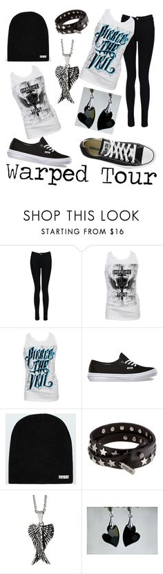 """Warped Tour Outfit"" by lexideseray ❤ liked on Polyvore featuring Boohoo, Retrò, Converse, Neff, Replay and Reeds Jewelers"