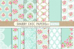 SHABBY CHIC digital papers by Masha  Studio on @creativemarket