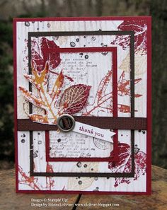 "By Eileen LeFevre. Triple time stamping using Stampin' Up ""French Foliage"" stamp set."