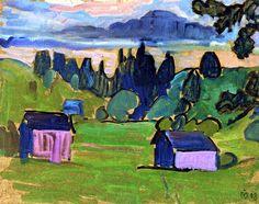 Gabriele Münter (1877-1962) was een Duitse expressionistische schilder en grafisch kunstenaar. Ze was de levensgezellin van Wassily Kandinsky. Ze hield een aanzienlijk deel van zijn werk verborgen tijdens en vlak na de Tweede Wereldoorlog en gaf het later terug aan de openbaarheid, met werken van zichzelf en kunstenaarsvrienden van Der Blaue Reiter.1908
