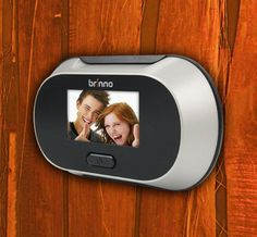 Brinno Digital PeepHole Viewer Once affixed to your door, the PeepHole Viewer displays a large image on an LCD panel with the simple press of a button, and even has a Zoom display.