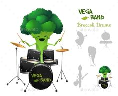 Brocolli Playing Drums with Band