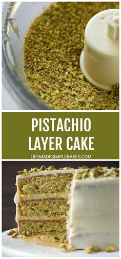 This light and fluffy pistachio layer cake is flecked with ground pistachios and flavored with just the right amount of almond extract. It's absolutely divine! #pistachiolayercake #pistachio #layercake #cake #dessert