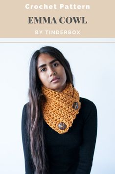 Simple crochet cowl pattern with functional buttons. I love this cowl because it sits flat under your coat. This was my at craft shows. Beginner Crochet, Crochet Patterns For Beginners, Simple Crochet, Large Buttons, Crochet Accessories, Crochet Designs, Cowl, Essentials, Flat