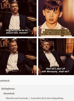 More Parentlock. Lestrade's first time babysitting Hamish...