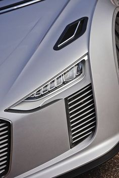 ♂ Silver car details - Audi e-tron Spyder #ecogentleman #automotive #transportation #wheels