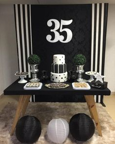 Cake Table Birthday, Birthday Table Decorations, Graduation Decorations, Diy Halloween Decorations, Halloween Party, Happy Birthday Decor, Birthday Diy, Birthday Party Themes, Black And White Party Decorations