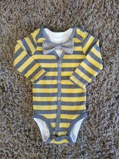 Yellow/Grey Baby Boy Cardigan Onesie with 1 by LinzyDawnDesigns, $27.00
