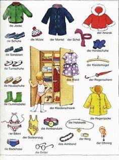die Kleidung part 2 Dutch Language, German Language Learning, Italian Language, Russian Language, German Grammar, German Words, Train Activities, Classroom Activities, German Resources