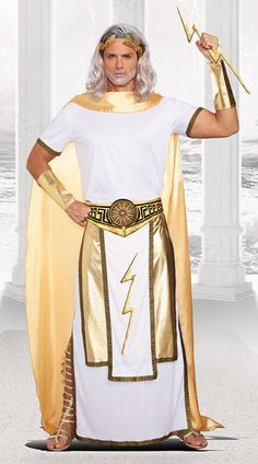 Dreamgirl Men's Zeus Costume, White/Gold, X-Large Zeus Costume, Greek God Costume, Toga Costume, Goddess Costume, Sexy Halloween Costumes For Men, Adult Costumes, Halloween 2019, Greek Mythology Costumes, Toga Party