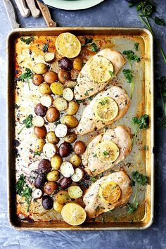 Sheet pan garlic lemon chicken breasts and potatoes recipe. This quick and EASY weeknight dinner is a miracle meal! Simple ingredients and so fast to make. You'll need chicken breast, new potatoes, lemon, garlic, oil, and parsley.