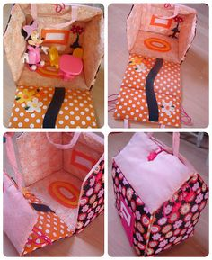 Fabric Dollhouse. I need to make one for a boy, that is a garage with hot wheels, or a racetrack, or maybe a prehistoric land with a volcano and dinosaurs.