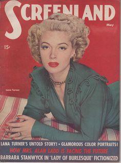 Lana Turner's elegant look on this 1940s Screenland magazine cover.