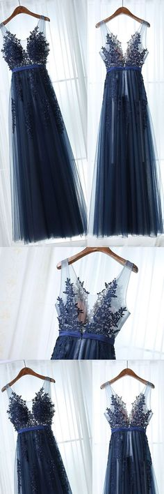 dark blue tulle lace long prom dress, dark blue bridesmaid dress #shortpromdresses