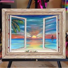 Items similar to Sunset Painting - Sunset Wall Decor - Sunset Wall Art - Original Artwork - Beach Painting - Beach Wall Art - Beach Wall Decor -Ocean Artwork on Etsy Ocean Artwork, Wine And Canvas, Beach Wall Art, Window Art, Art Plastique, Painting & Drawing, Beach Drawing, Painting Inspiration, Canvas Art