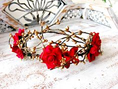 Gold Flower Crown   Rose Red Flower Crown a Winter by BouquetLane