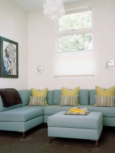 Awesome Blue And Yellow Pillows On The Couches And Beds : Exciting Blue And Yellow Pillows Combied With Turquoise Couch And White Wall