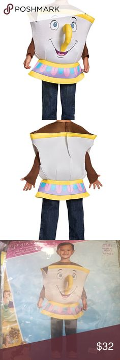 NWT Beauty & Beast Chip Costume One size, ages 2+ fits up to size 6.                      Polyester Imported Product includes: built- out vest with detachable handle Disney Princess - beauty & the beast Officially licensed product Disney Costumes Halloween