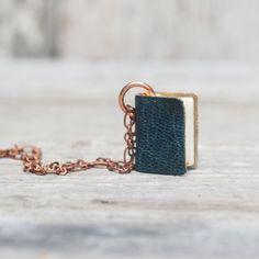 Book Necklace Small blue on 24 chain por PegandAwl en Etsy, $46.00