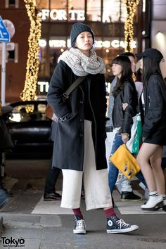 Japanese Fashion Model in Wool Coat & Cropped Pants