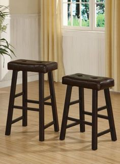 """Set of 2 Counter Stool in Brown Finish Legs and Brown Faux Leather #PD F11239 by HP. $71.50. Counter Stool in Brown Finish Legs. set of 2. Brown Faux Leather. only the stool on the right. size:19""""x15""""x24""""H. some assembly maybe required."""