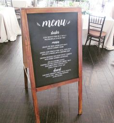 Wedding Chalkboard Menu   #menu #chalkboard #weddingsignage #wedding #handchalked #capetownwedding