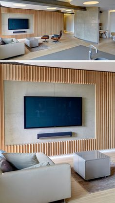 8 TV Wall Design Ideas For Your Living Room | Thin wood strips have been cut to frame the TV and sound bar to make it the main feature in the room seen below.