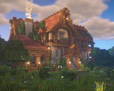 Minecraft Villa, Casa Medieval Minecraft, Minecraft House Plans, Minecraft Structures, Cute Minecraft Houses, Minecraft House Tutorials, Minecraft Room, Minecraft City, Minecraft House Designs