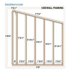 Slant Roof Utility Shed Plans Blueprints 05 Side Wall Framing Wood Shed Plans, Shed Building Plans, Diy Shed Plans, 8x12 Shed Plans, Framing Construction, Shed Construction, Backyard Sheds, Outdoor Sheds, Utility Sheds