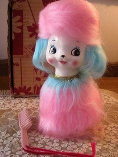 Vintage Ceramic Porcelain 1960's Puppy Dog Bank Figurine Blue Pink Hair Japan