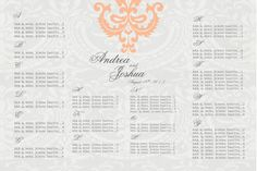 Damask Wedding Seating Chart//damask//grey by PleasebeSeatedDesign