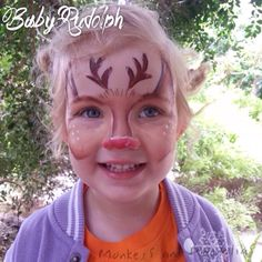 Christmas face painting ~ Rudolph the red nose reindeer