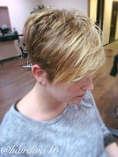 Textured Pixie cut on thick, coarse hair. Balayage highlights, heavier around the fringe.