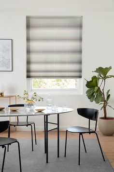 Our Harmony Grey Pleated blind is a contemporary ombre prints combine subtle colour and pattern for a tranquil feel Breath Of Fresh Air, Contemporary, Modern, Blinds, Dining Room, Interiors, Curtains, Colour, Grey