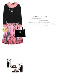 """Pleated Skirty by Gucci"" by fashionmonkey1 ❤ liked on Polyvore featuring Gucci, Miu Miu, BROOKE GREGSON, Ben-Amun, girly, gucci, pleatedskirt and pinkandblack"