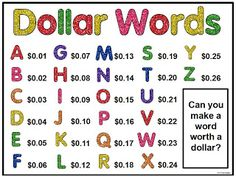 Dollar Words- fun challenge for when kids finish work early Tales from a Fourth Grade MathNut or Mr. Terrupt