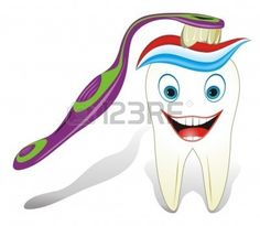 Vector illustration from teeth care concept, funny molar tooth with toothbrush and toothpaste. Stock Vector