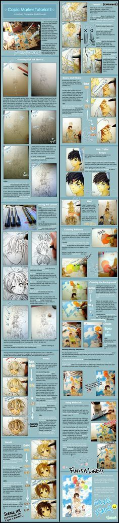 READ LEFT COLUMN FIRST, THEN RIGHT COLUMN. Finished piece:[link] Copic Tutorial I:[link] That's it, this totally proves that I'm a masochist to the extreme. If you think the last tutorial...