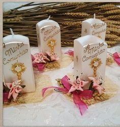 Communion candle decorations. Communion Decorations, Candle Decorations, Centerpieces, Favors, Place Cards, Room Decor, Place Card Holders, Candles, Wall