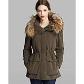 DKNY Anorak - Candace Faux Fur Trim Hood
