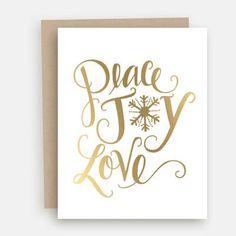 Peace, Love & Joy Gold Foil - A2 Note Card