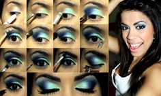step by step smokey eye--- green,baby blue, dark blue, black---- sparkly---black winged mascara