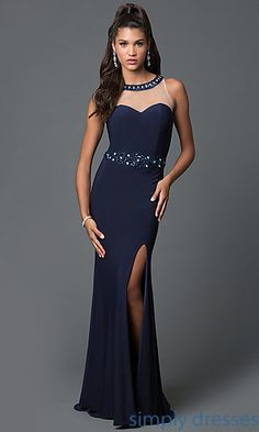 Sleeveless Floor Length Jersey Formal Gown with Bead Detailing
