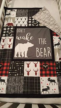 baby boy blankets This crib quilt is super soft with arrow minky on the back. Dont wake the Bear center panel with buffalo plaid and other fun Lumberjack fabrics around it. Quilt is a Quilt Baby, Baby Quilt Size, Baby Boy Crib Bedding, Baby Boy Cribs, Baby Boy Rooms, Baby Boy Nurseries, Baby Quilt Panels, Modern Nurseries, Baby Boys