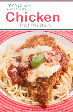 Chicken Parmesan - Devour Dinner, made in 30 minutes. It's delicious and even my picky eater wanted more! #chicken #chickenparmesan #easyrecipe #easydinnerrecipe #dinner #devourdinner #food #recipes #buzzfeast #dinner #recipe