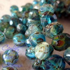 Czech Glass Picasso Bead Spacer Rondelle 8mm by CentralCoastCharms