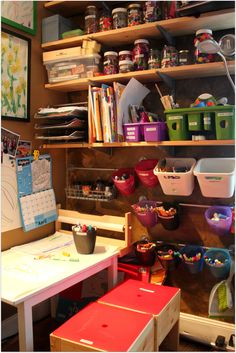 How to pack things into a small Kids Art Studio. The entire space is about 4′ by 5′, with storage to the ceiling.